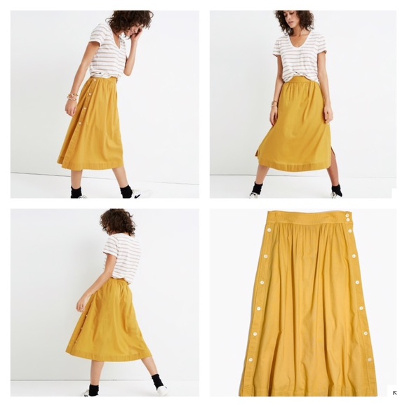 cca851bbbec5 Madewell Skirts | Side Button Skirt In Cumin Yellow | Poshmark